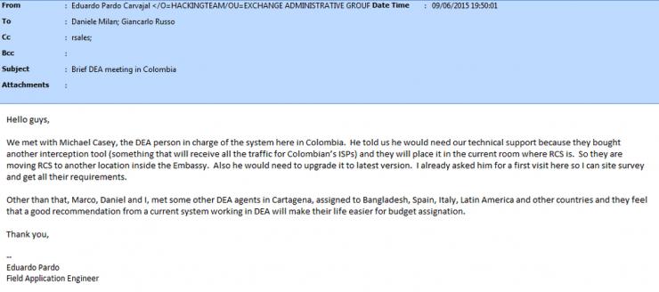 Figura 3: Correo electrónico que muestra a la DEA en contacto con Hacking Team