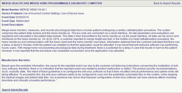 Ilustración 2. Extracto del informe de Merge Healthcare a la FDA